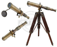 Brass Telescope w/ Wooden Tripod Stand Nautical Vintage Antique Decorative Gift
