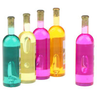 5Pcs 1:12 Dollhouse Miniature Colorful Champagne Wine Bottles Mini Model T,XJCAU