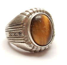 925 Sterling Silver Large Heavy Oval Tigers Eye Signet Ring 18.3g UK Size T