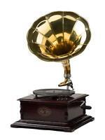 Gramophone Player 78rpm Square phonograph Brass Horn HMV Vintage Wind up