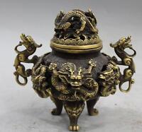 collection , Chinoise ancienne laiton sculpté dragon forme encensoir