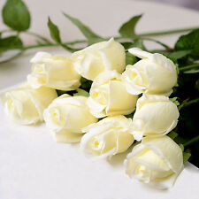 10pcs White Artificial Rose Bud Head Flowers Wedding Bouquet Decor Real Touch