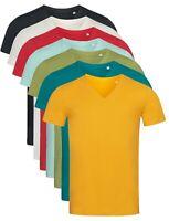 Pour Homme Uni Coton Bio Manche Courte Col En V T-shirt S-XXL