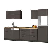 Küchenzeile 300 cm Einbauküche ohne Elektrogeräte Küchenblock hochglanz grau