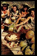 c1952 Nani Li'i women enjoying tropic fruits at Luau Hawaii postcard