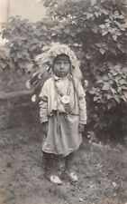 YOUNG CHILD IN AMERICAN INDIAN OUTFIT, POSED IMAGE, REAL PHOTO PC ~ c. 1930's