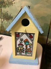 Decorative Wood Birdhouse Speckled Yellow & Blue W/ Lady Bugs, Frog, Flowers
