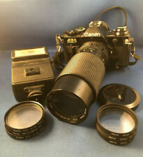 ~ Rare Black Canon Ae-1 Program 35mm Manual Slr Film Camera with Lens & Filters