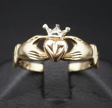Vintage 14k Yellow Rose White Gold Claddagh Ireland Heart Crown Hand Ring RG1320