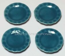 Set of 4 Dollhouse Miniature Blue Ceramic Plates * Doll Mini Food 1-inch Dishes