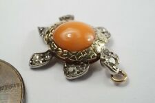 Lovely Antique Gold & Silver Coral & Diamond Turtle / Tortoise Charm c1880
