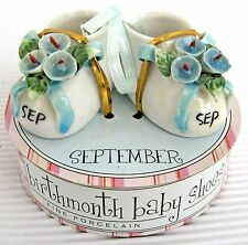 Porcelain Birth Month Small Decorative Baby Shoes September Blue on White New