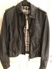 Men's Burberry Brown Leather Jacket Size 48 New