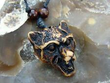 1 x Mens Faux Yak Bone Animal Brown Wolf Head Pendant Necklace Adjustable