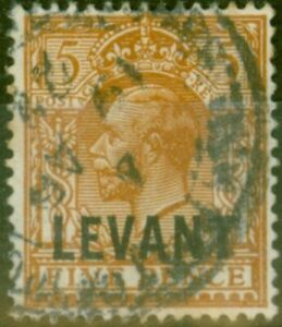 British Levant 1921 5d Yellow-Brown SGL21 Good Used.