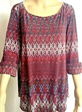 New Directions blouse size 2 X burgundy pullover 3/4 sleeves stretch ladies