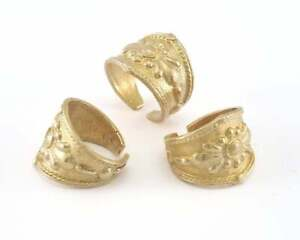 Band Ring Flower Adjustable Ring Raw Brass OZ3994
