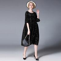 Plus size dresses womens Elegant casual loose Velvet flowers dress two piece new