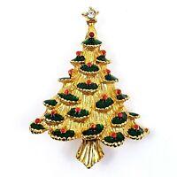 Vintage Multi Color Rhinestone Gold Tone Holiday Christmas Tree Pin Brooch