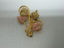 2 Tone Leaf Brooch / Pin New listing 10k Yellow Gold w Rose