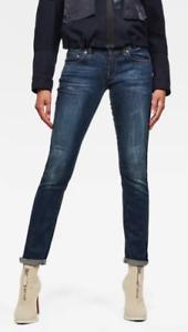 NEW G Star Midge Saddle Straight Jeans Women's Denim Dark Blue RRP $200