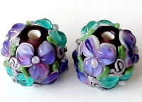 10pcs handmade Lampwork glass round Beads purple blue flower 15mm -2