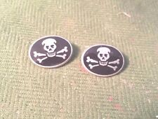 BIKER MOTORCYCLE CLOTHING GOTHIC PIRATE 6 SKULL & CROSS BONE PEWTER BUTTONS New