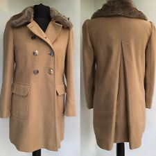 OASIS Camel Tan Double Breasted Coat with Detachable Faux Fur Collar Size M 12