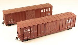 (2) Accurail 50' Box Car DT&I/CN/CV #16918/50076 1/87 HO Scale #7 NO BOX