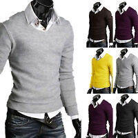 Mens Slim Fit Jumper Knitted Long Sleeve V-Neck Winter Sweater Pullover Tops New