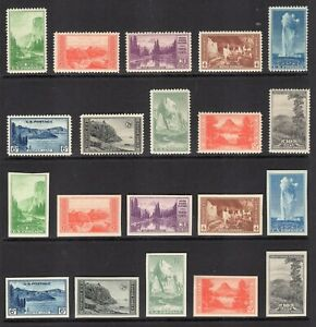 US 1935 NATIONAL PARKS 740-49 PERF NH + 756-65 1c-10c IMPERF NGAI -Free Ship USA