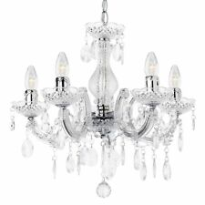 Chandelier Ceiling 5 Light Marie Therese Chrome Crystal Effect Drop Litecraft