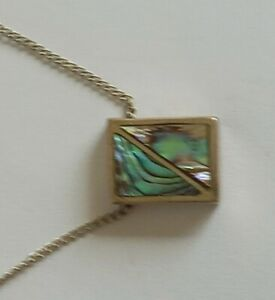 Vintage Solid Sterling PAUA SHELL  Pendant With 44 cm 925  Silver Chain