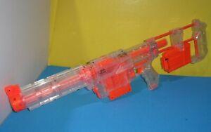 Clear Nerf Recon CS-6 Dart Gun Blaster w Stock, Barrel  Attachments - Two Clips