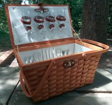 PICNIC AT ASCOT Picnic BASKET - Service for 4 - Pre-owned, Unused - Green/Blue