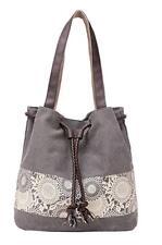 Grey Hiigoo Canvas Shoulder Bag Retro Casual Purse/ Handbag - Free Shipping