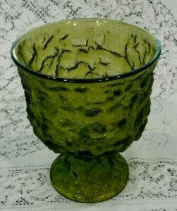 """Vintage E.O. BRODY CO Green Glass 6.5"""" Textured Crinkle Vase or Fruit Bowl A102"""