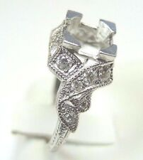 Antique Deco Vintage Ring Setting Mounting Mount Platinum Hold 6.5 MM 1 Carat