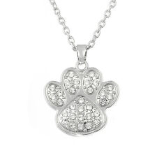 Dog Cat Paw Print Crystal Pendant Necklace For Men Women Animal Lovers Jewelry