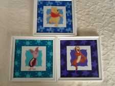 WINNIE-THE-POOH, Piglet & Tigger Set of 3 Print Pictures in White Frames Disney