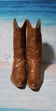 Tan Leather Stitch Pattern Calf High Boots/shoe 1.5 Heel Cowboy Size 4 (37)
