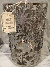 Bath & Body Works White Barn SNOWFLAKE Glitter Candle Holder Luminary Hurricane
