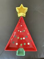 TAG Holiday Christmas Tree Bowl & Star Dip Dish Red Polka Dots Tree Yellow Star