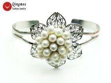 Natural White & Pink Rice Pearl Flower Silver Plate Open Cuff Bracelet for Women