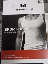 2x GÖTZBURG, Herren Unterhemd / Sport-Hemd Weiß - 642032 - Doppelripp  Gr. 5 NEU