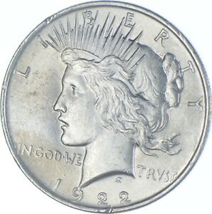 Choice AU/UNC 1922 Peace Silver Dollar - 90% Silver *178