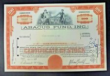 {BJSTAMPS}  ABACUS FUND INC. Stock Certificate 1967  DELAWARE