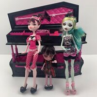 Mattel Monster High Jewelry Box Coffin Lot 3 Dolls And Accessories