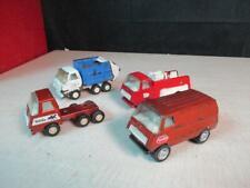 4 Vintage 1970's Tonka Pressed Steel Trucks Rare Garbage, Van, Fire Truck