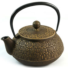 Japanese Cast Iron Teapot - Cherry Blossom Relief in Gold - 650ml   Iwachu